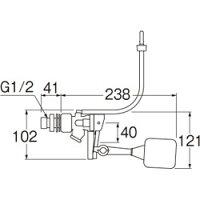 【三栄水栓】万能ロータンクボールタップ(スリムタップ)トイレ用V56-5X-13