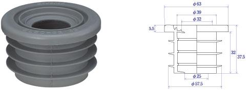 【e-Joint】洗面器、手洗い、トラップ用2トラップ兼用/VP・VU50×真鍮パイプ32・38(mm)グレー色EL50-32・38