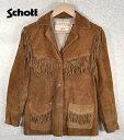 ビンテージ 1980年代 / RANCHER by Schott / ランチャージャケット フリンジ付スエードウエスタンジャケット / キャメルブラウン / レディースM相当【中古】♪
