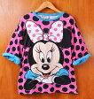 【ビッグTシャツ】ヴィンテージ 1990年代 USA製 / DISNEY ディズニー / MINNIE MOUSE ミニーマウス / ビッグサイズ 半袖Tシャツ / ピンク×ドット柄 / フリーサイズ扱い レディース3XL相当【中古】▽