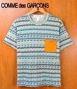 トルコ製 / COMME des GARCONS SHIRT コム・デ・ギャルソン シャツ / 胸ポケット付 半袖Tシャツ / グレー×グリーン系車鍵 総柄 / メンズS【中古】▽