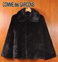 ヴィンテージ 1999年 日本製 / tricot COMME des GARCONS トリコ コム・デ・ギャルソン / 毛皮風 フェイクファー ショートコート / ブラック / レディースL相当【中古】▽