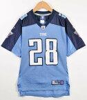 Reebok リーボック NFL Tennessee Titans テネシー・タイタンズ クリス・ジョンソン フットボールシャツ ナンバリング メッシュ ユニフォーム ライトブルー×ネイビー レディースL相当【中古】▼