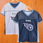 NFL Tennessee Titans テネシー・タイタンズ リバーシブル メッシュ 半袖Tシャツ ホワイト×ネイビー レディースM相当【中古】▼