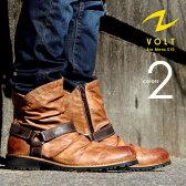 VOLT/ヴォルト ヴィンテージスタイル サイドジップ ドレープリングブーツ