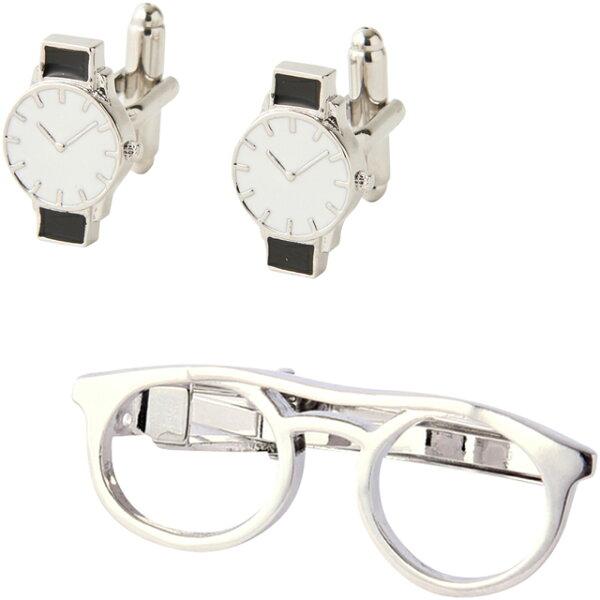 最大10倍9日20:00開始 デスクアクセサリーメンズアイテム700-600タイピン&カフスセットメガネ&腕時計カフスメンズカ