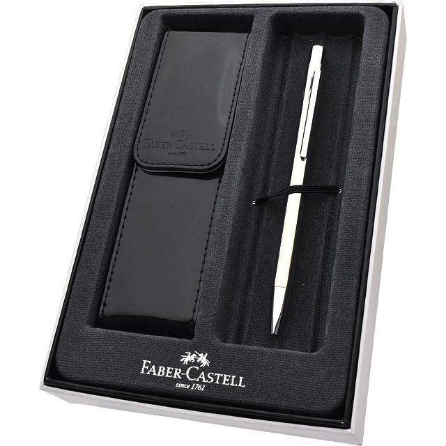 ファーバーカステル 新学期セット 2020 ネオスリム シャイニーステンレス ボールペン + ペンケース 342020+F-BTS-G FABER CASTELL 名入れ 名前入り 1本から 名入れボールペン プレゼント 男性 女性 高級ボールペン 高級筆記具