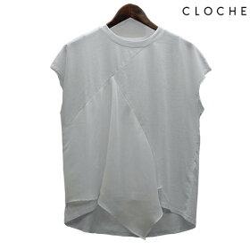 CLOCHE(クロッシェ)フロント切替カットソーコットン100%フロントデザイン布帛使いデザインTシャツデザインカットソー