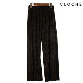 CLOCHE(クロッシェ)プリーツパンツ裏地付きしわにならないプリーツ程よい光沢感ウエスト総ゴム