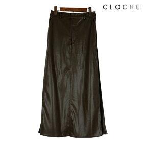 CLOCHE(クロッシェ)フェイクレザースカート台形スカート程よいタイトフェイクレザー