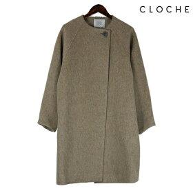 CLOCHE(クロッシェ)ノーカラーコートコクーンコート一つボタンゆったりデザイン程よい丈感ノーカラーコクーン