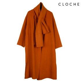CLOCHE(クロッシェ)マフラー付きノーカラーコート1枚仕立てシンプルデザインサイドスリットノーカラーストール付き