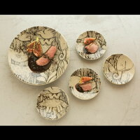 森と動物の絵皿4寸皿/オオカミ/益子焼/LisaLarson(リサ・ラーソン)