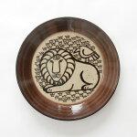益子の皿ライオンと鳥/益子焼/LisaLarson(リサ・ラーソン)