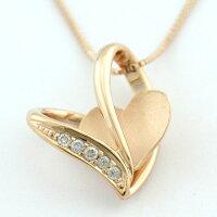 K10ピンクゴールドハートダイヤモンドペンダントネックレス
