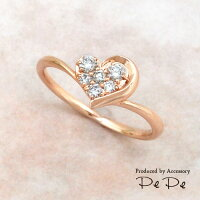 K10ピンクゴールドダイヤモンド合計0.16ctリング(ハート)[6311440206]