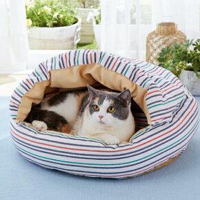 さわやかマリンラウンドもぐりふとんベッドハウスマルチチェックカラフル猫ペピイオリジナル2018春夏