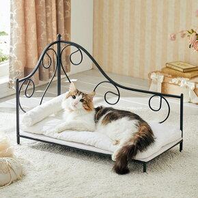 プリンセスベッドキャリーヌ猫ねこベッドかわいいおしゃれ姫フレンチアンティーク北欧ベッドフレームペットペピイPEPPY