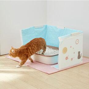 幅がかわる砂ガードショート(幅40-60×奥行40×高さ40cm)【トイレトイレカバーハウス猫猫用日本製国産】PEPPY(ペピイ)