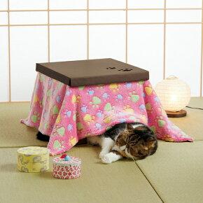 猫こたつパウ柄ピンクオフホワイトダンボールフリース猫ペット冬PEPPYペピイ2018秋冬