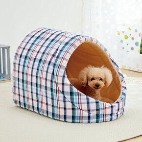 さわやかマリンドームベッドSS幅37×奥行50×高さ35cmマルチチェックカラフルかまくら犬猫綿コットンペピイオリジナル2018春夏