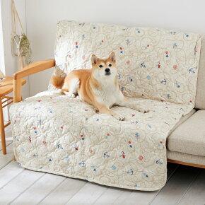 毛が払えるマリンキルトマット幅100×奥行150×厚さ0.5cmベージュネイビーマルチカバー犬猫ペピイオリジナル2018春夏