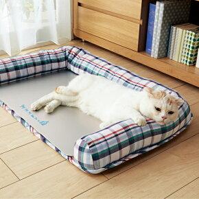 さわやかマリンプレート用ベッドSS幅60×奥行40×高さ12cmマルチチェックカラフル夏用涼感加工クール犬猫コットンペピイオリジナル2018夏