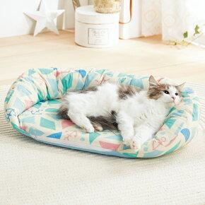 涼眠リバーシブルベッドSS幅62×奥行44×高さ16cmカラフルベージュターコイズブルー犬猫ペピイオリジナル2018春夏