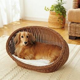 PEPPY(ペピイ)ラタン調コクーンベッドS(55×38×32cm)【夏用クール小型犬犬犬用品犬用猫猫用品猫用洗えるペットグッズ】