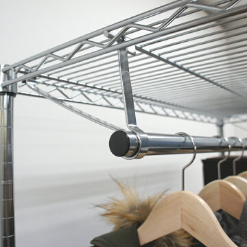ルミナス径【25mm】ハンガーポール90W「フック付」(耐荷重250kgのスチール棚用)(89cm)IL-090HP