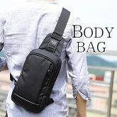 Perfectbagボディバッグ防水ナイロンメンズ斜め掛け縦型ワンショルダーバッグウエストバッグiPadmini収納メッセンジャーバッグ自転車鞄かばん黒