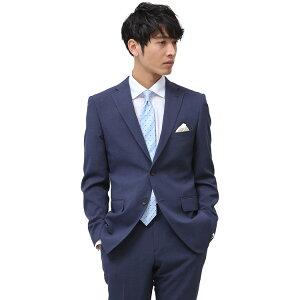 【ネット限定】スーツ メンズ ストレッチスーツ 2ツボタン 伸びる 洗える しわに強い ビジネス チェック 軽量 ブルー ノータック 春夏 ( PSFA公式) パーフェクトスーツファクトリー【送料無料】