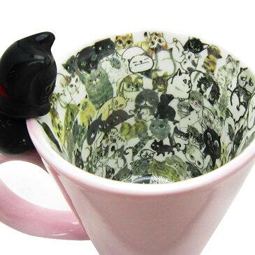 chaton chaton マグ マグカップ ピンク ネコ 黒猫