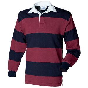 (フロント・ロウ) Front Row メンズ 縫合ボーダー 長袖 ラガーシャツ ポロシャツ トップス カットソー 男性用 【楽天海外直送】