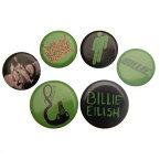 (ビリー・アイリッシュ) Billie Eilish オフィシャル商品 ロゴ 缶バッジ (6個セット) 【楽天海外直送】