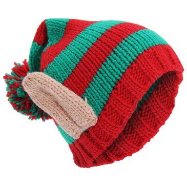 ユニセックス クリスマス エルフの耳 ポンポンつきニット帽 ニットキャップ ビーニーハット バブルハット 冬 女性用 【楽天海外直送】