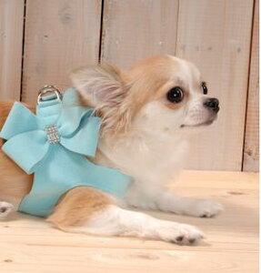 上質なウルトラスウェードを使用した犬に負担のかからない機能性と、デザインの美しさで世界中の愛犬家に人気。Susan Lanci Step-In Harness Nouveau Bow & leashes Tiffi Blue/スーザンランシー ステップインハーネス ヌーヴォー ボウ &リード ティフィブルーー