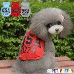 犬服春夏犬服夏小型犬用USAロゴ入りタンクトップS,M,L,XL,XXLブルーレッドグレー