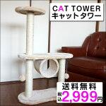【02P21May14】【送料無料】【即納】限定販売キャットタワー据え置きベージュ[猫タワーキャットスタンドねこタワーキャットランド爪とぎおしゃれ置き型]