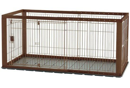 リッチェル 木製スライドペットサークル ワイド ダークブラウン 4973655593523