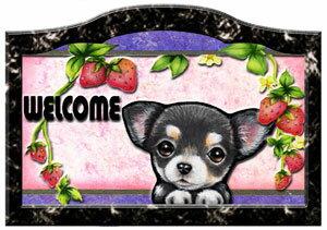 名入れ マグネット ネームプレート チワワ23 犬ステッカー 名前変更OK 犬 表札 ウエルカムプレート 玄関 イラスト 雑貨 グッズ 犬グッズ 犬雑貨