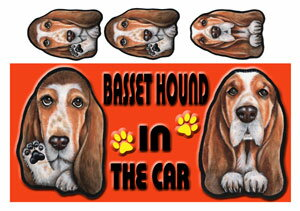 バセットハウンド  グッズ 雑貨 名入れ マグネット犬 ステッカー バセットハウンド5 犬 ステッカー バセットハウンド グッズ 雑貨