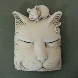 レリーフ■ガーデンオブジェ■Carruth Studioストーンオブジェ猫の昼寝