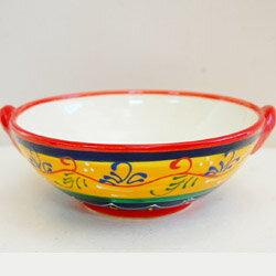 可愛い陶器製■スペイン製■ハエン手付きボウル バイカラー