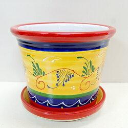 可愛い陶器製■スペイン製■ハエン皿付プランターバイカラー