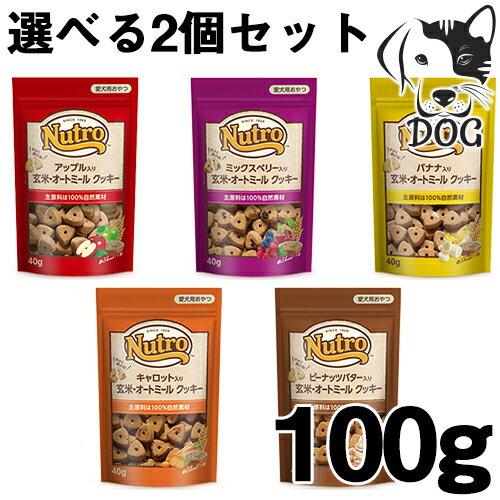 ニュートロ 犬用おやつ 玄米・オートミールクッキー 100g 選べるトリーツ 2個セット (アップル・ミックスベリー・ピーナッツバター・キャロット・バナナ) 送料無料