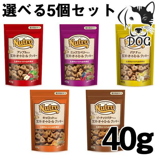 ニュートロ 犬用おやつ 玄米・オートミールクッキー 40g 選べるトリーツ 5個セット (アップル・ミックスベリー・ピーナッツバター・キャロット・バナナ) 送料無料