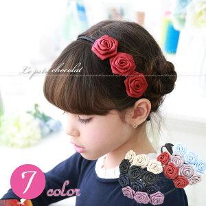 ※7色♪トリプルローズ(薔薇)がとっても可愛い♪フェミニン&上品なカチューシャ♪ 【韓国 子供…
