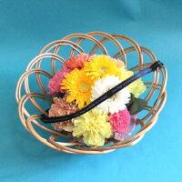 生花バスケットアレンジメント【2018母の日ギフト】可愛い贈り物!季節のお花がたっぷり!ライラックとオランジュの二色!