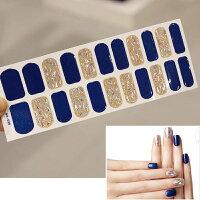 ネイルシール22爪分貼るだけジェル風シールフルラップネイルシート簡単キレイ美爪ブルー